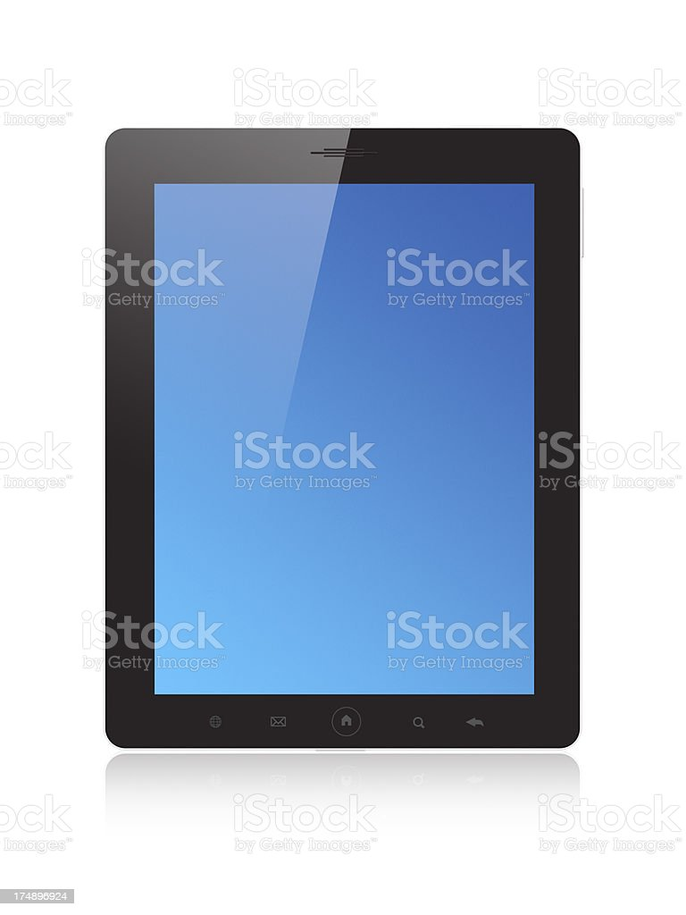 Digital tablet with blue screen royalty-free stock photo