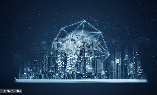 1082409706 istock photo Digital tablet with building hologram and global network connection technology. Element of this image are furnished by NASA 1075246756