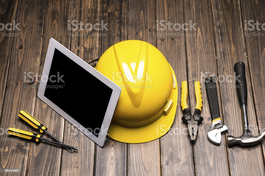 digital tablet with construct tools royalty-free stock photo