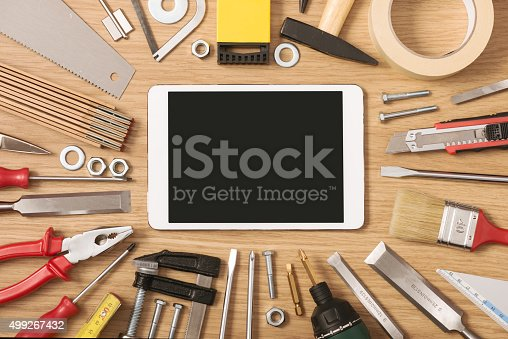istock Digital tablet with DIY tools 499267432