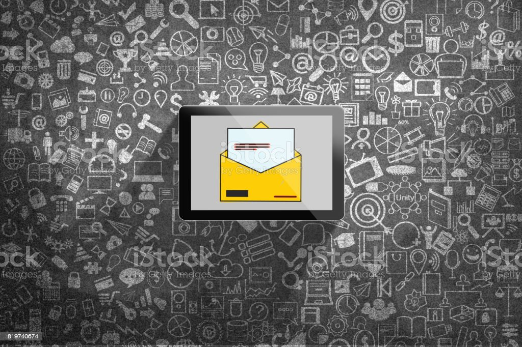 Digital tablet with inbox e-mail icon stock photo