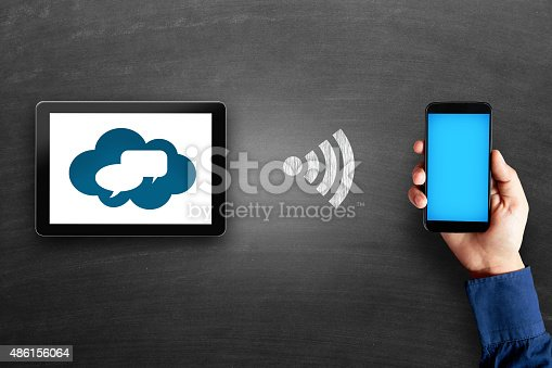 istock Digital tablet with thought bubbles 486156064