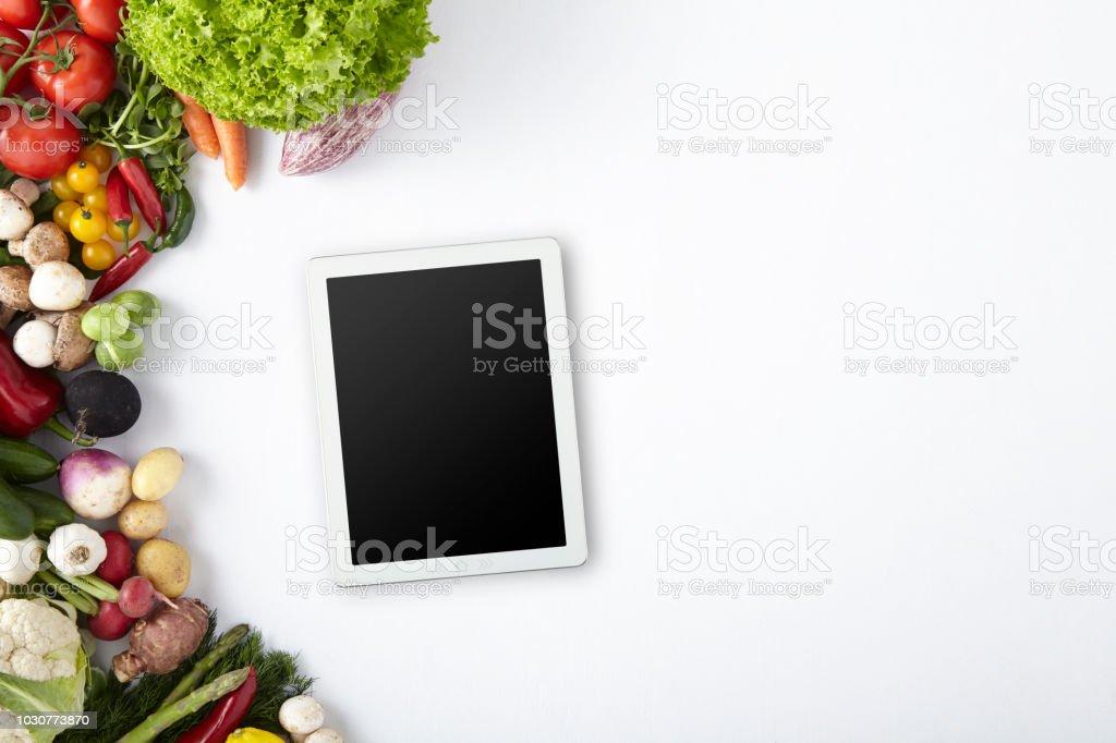 Clipping Path Screen, Digital Tablet, Healthy Life, Detox, Vegetables...