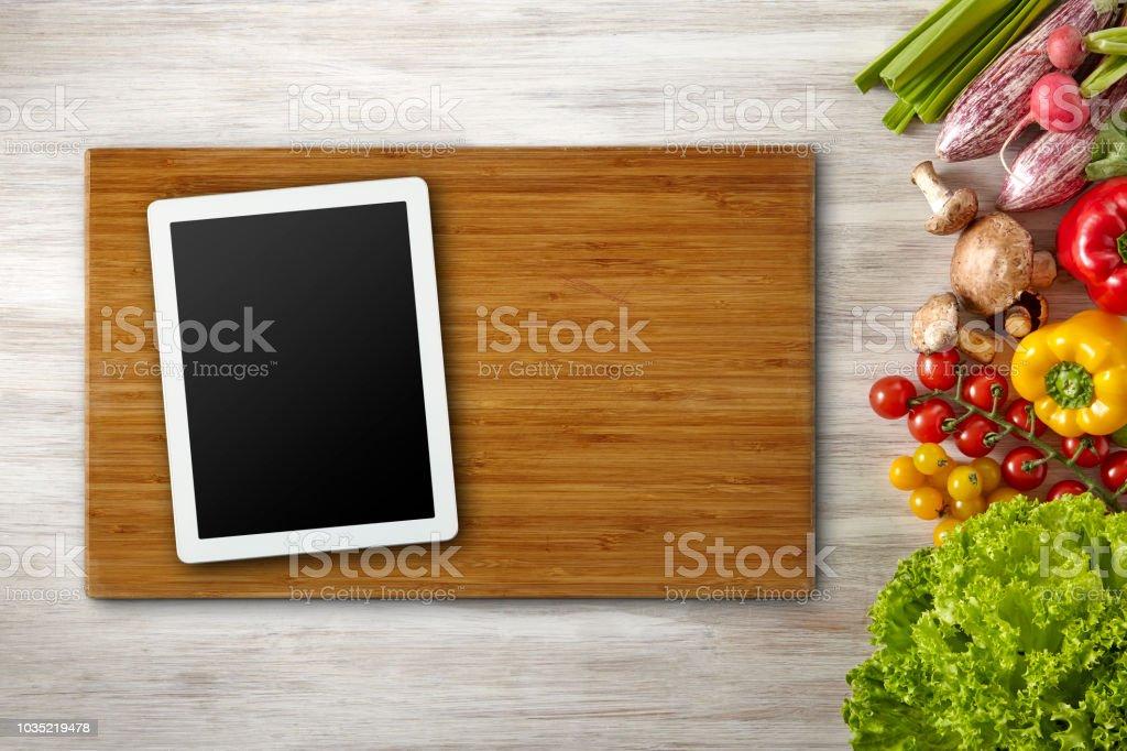 Clipping Path Screen, Cutting Board, Digital Tablet, Healthy Life,...