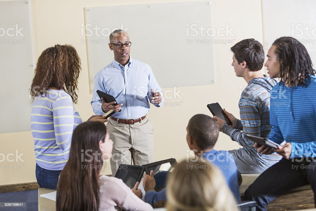 Digital tablets in classroom stock photo