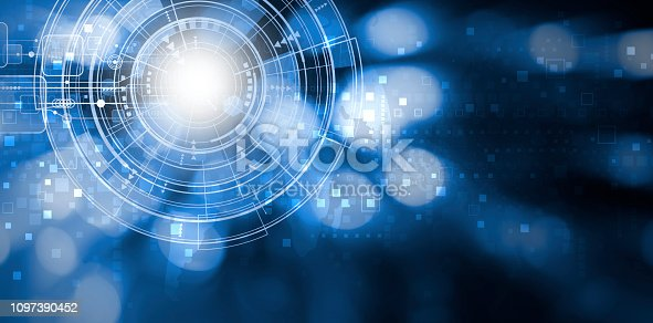 istock Digital technology background design with copy space 1097390452