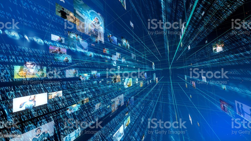 Digital technology concept. Binary code. stock photo