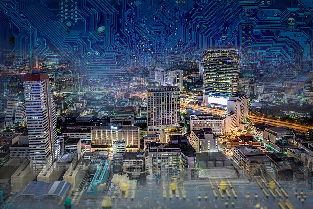Digital Technology embraces the world Internet of Things (IoT) links the physical and digital worlds, creating smart environments through digital technologies to drive actionable insights, aka Industrial Internet and Internet of Machines. emergence stock pictures, royalty-free photos & images