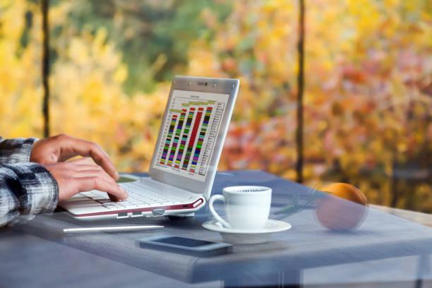digitale technologie freelancer arbeiten auf tragbaren computer in der landschaft - www kaffee oder tee stock-fotos und bilder