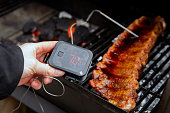 istock Digital Thermometer BBQ, grill, barbecue for beaf steak and spare rib ant other meat. measuring temperature 1291047003