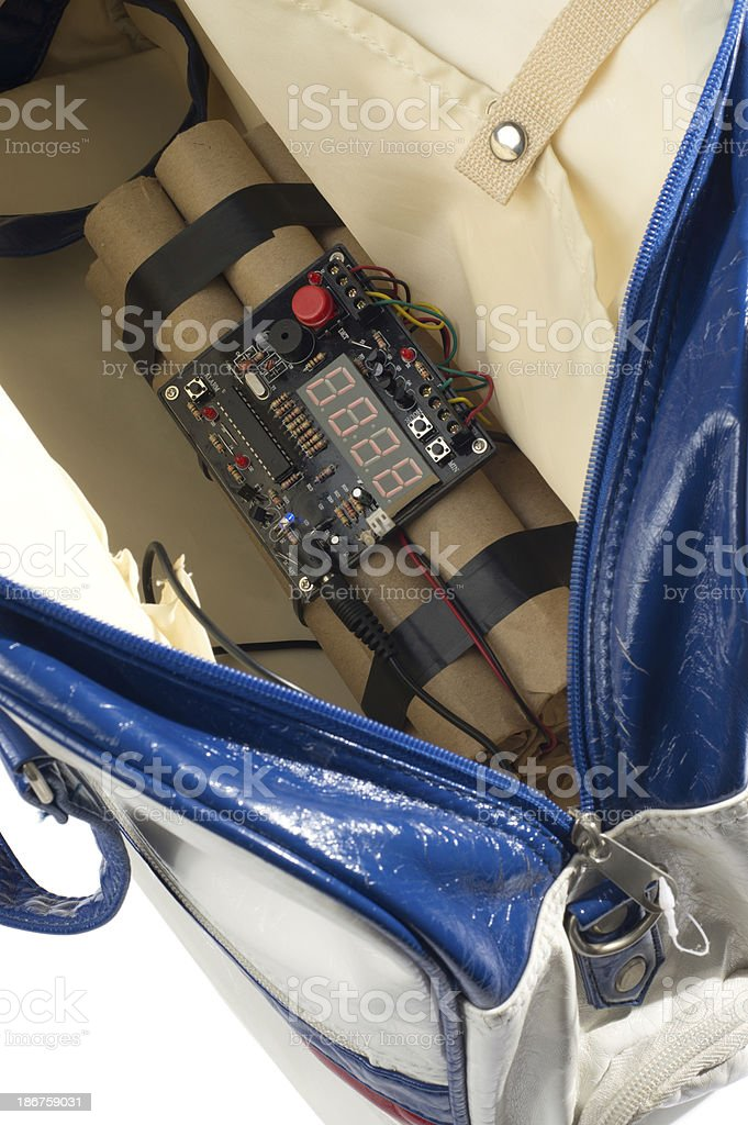 Digital Time Bomb in Handbag royalty-free stock photo
