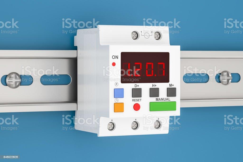 Digital timer switch mount on din rail, 3D rendering stock photo