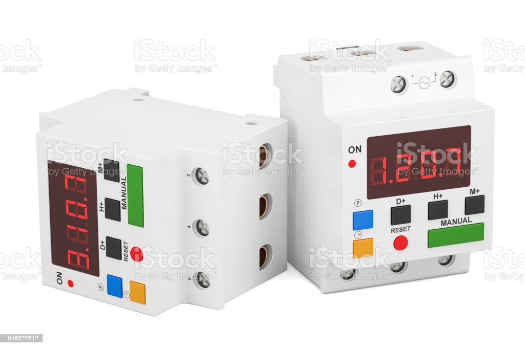 Digital timer switches, 3D rendering isolated on white background stock photo