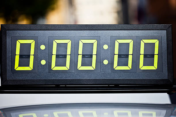 digital timing clock on marathon - timer stock photos and pictures