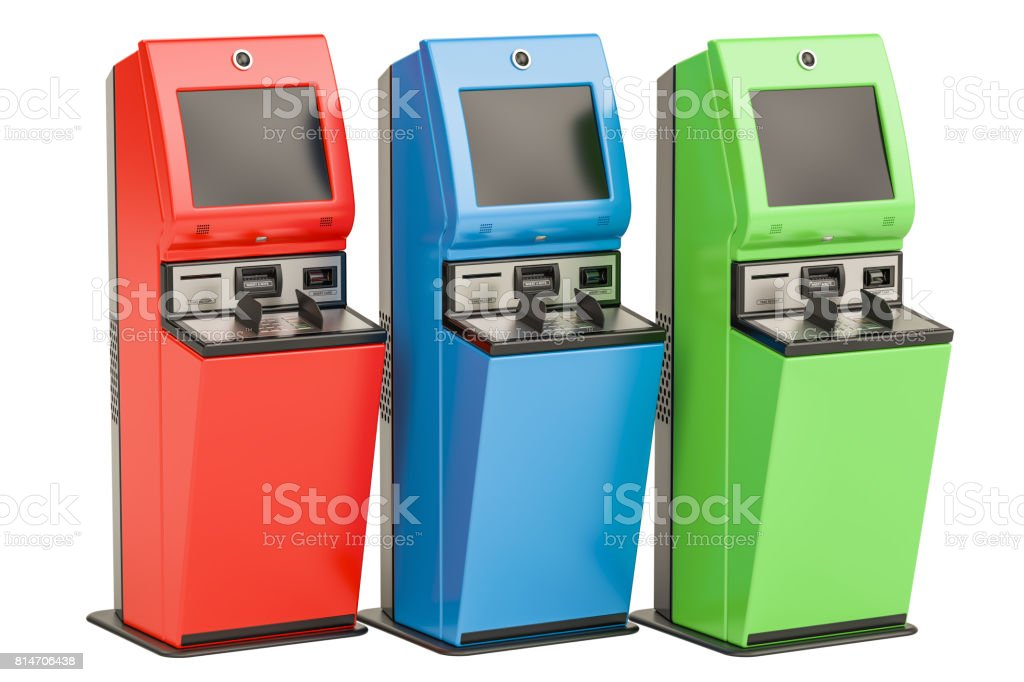 Digital touchscreen terminals. Financial services kiosks, 3D rendering isolated on white background stock photo