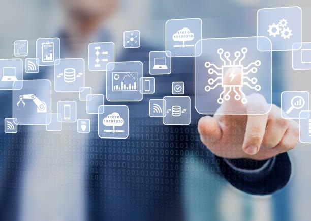 Digitale Transformation change-Management, Internet der Dinge (IoT), neue Technologie und Strategie zu verarbeiten, Betrieb, Kunden-Service-Management zu automatisieren, cloud computing, smart Industrie – Foto