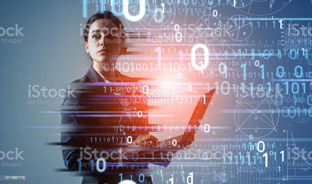 Digital transformation concept. Binary code. AI (Artificial Intelligence). Digital transformation concept. Binary code. AI (Artificial Intelligence). Technology Stock Photo