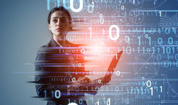 Digital transformation concept. Binary code. AI (Artificial Intelligence). stock photo