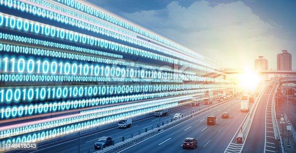 istock Digital transformation concept. Binary code. 1146418043