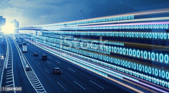 istock Digital transformation concept. Binary code. 1146418045