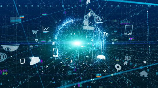 istock Digital transformation concept. Binary code. Programming. 1169712208