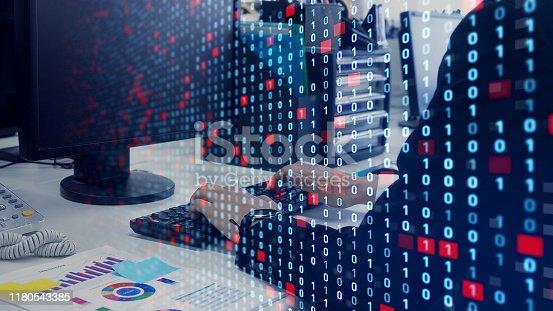 istock Digital transformation concept. Binary code. Programming. 1180543385