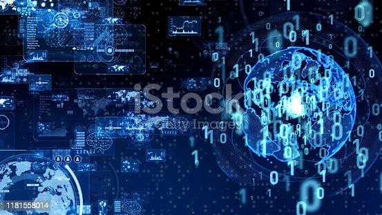 698054674 istock photo Digital transformation concept. Binary code. Programming. 1181558014