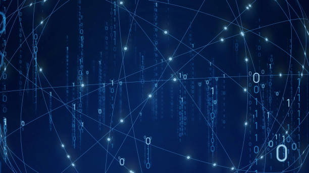 Digital transformation concept. Binary code. Programming. Quantum computer. stock photo
