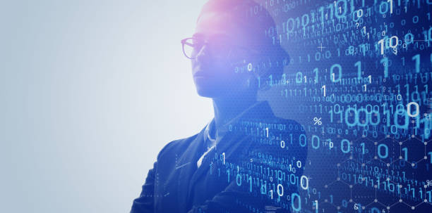Digital transformation concept. Binary code. System engineer. Programmer. stock photo
