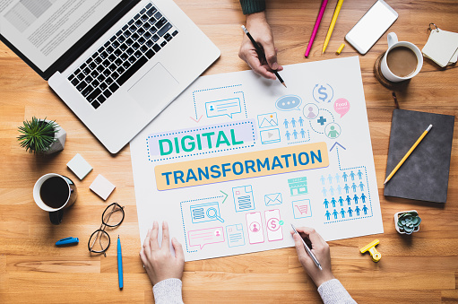 Digital transformation or business online concepts with young person thinking and planning platform ideas.communication design.communication design