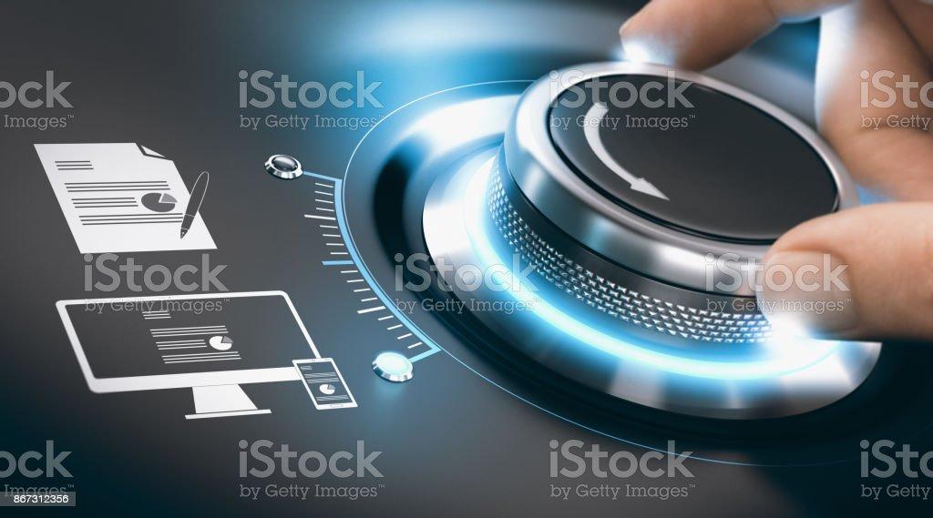 Proceso de transformación digital, digitalización de información analógica - foto de stock