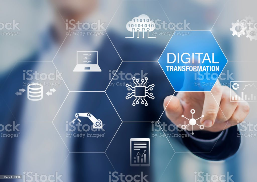 Digital transformation technology strategy, digitization and digitalization of business processes and data, optimize and automate operations, customer service management, internet and cloud computing stock photo