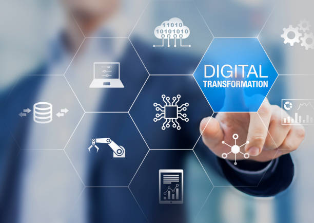 digital transformation technology strategy, digitization and digitalization of business processes and data, optimize and automate operations, customer service management, internet and cloud computing - reforma assunto imagens e fotografias de stock