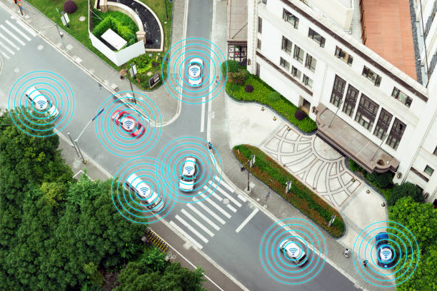Digital transformation Trends in automotive industry. Smart car , Autonomous self-driving mode vehicle on metro city road iot concept with graphic sensor radar signal system , internet sensor. stock photo