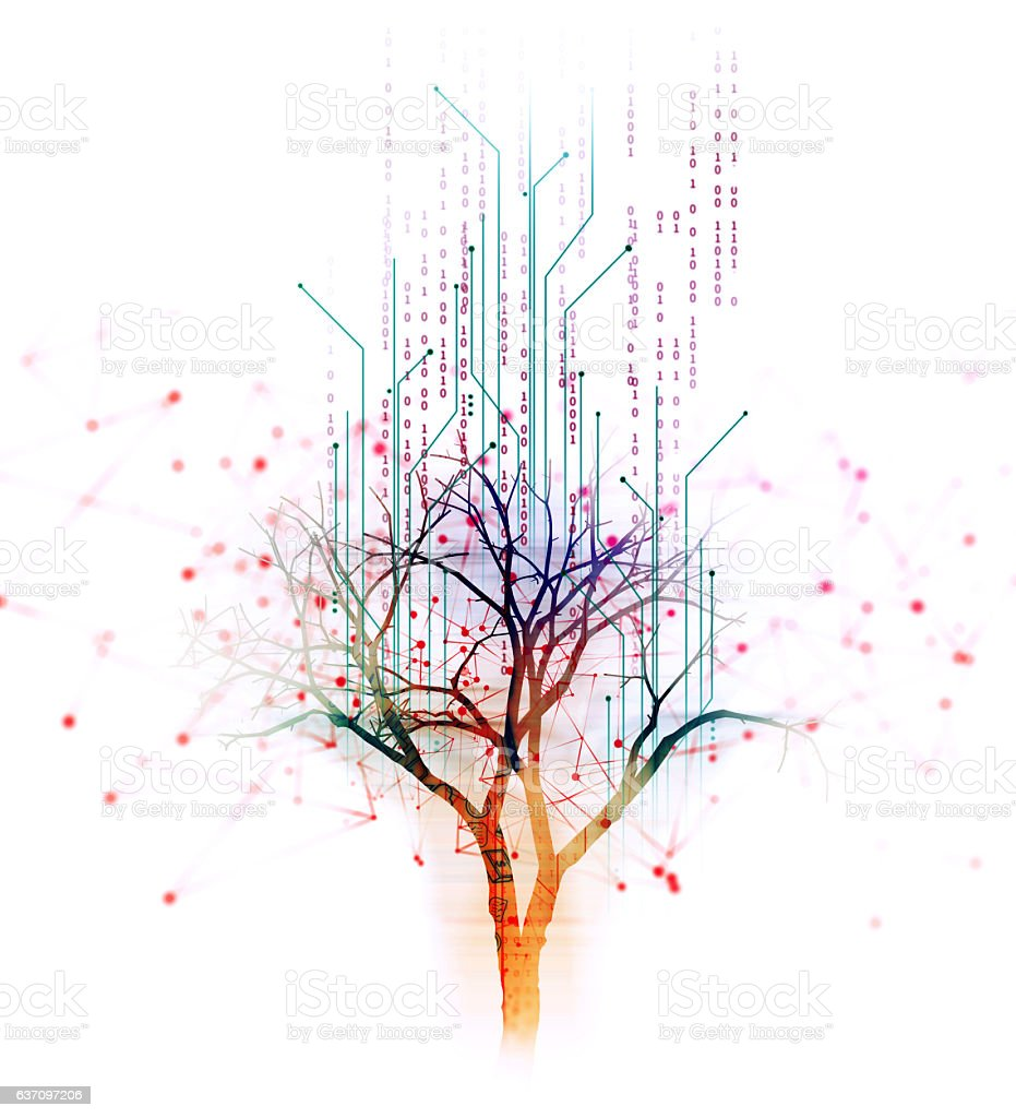 digital tree on technology background illustration - Foto de stock de Abstracto libre de derechos