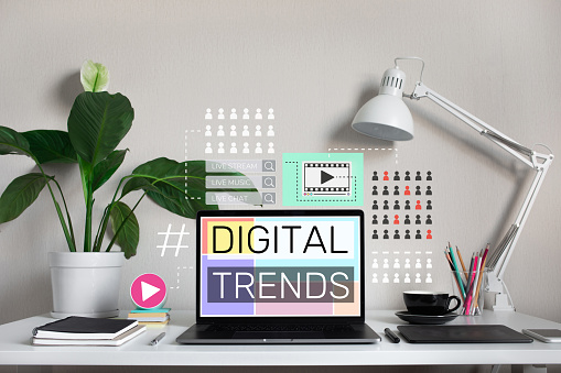 1125605742 istock photo Digital trends with modern graphic and text on laptop on desk table.business online.Social  communication. 1208171416