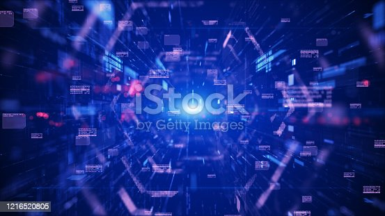 489599728 istock photo Digital tunnel cyberspace and digital data network connections concept. Transfer digital data hi-speed internet, Future technology digital background concept. 1216520805