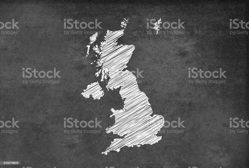 Digital UK map on a blackboard stock photo