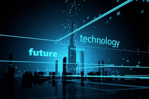 Digitalen Universum futuristischen Wolkenkratzern – Foto