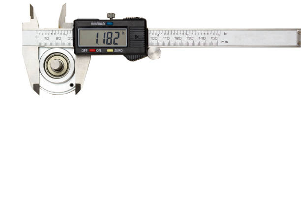digital vernier caliper measuring the outer diameter of the encoder unit placed on the white background, red plastic clamp lay near by. 7-segment display the accuracy of measurement value - diameter stock pictures, royalty-free photos & images