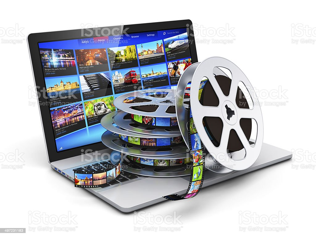 Digital video and mobile media concept stock photo