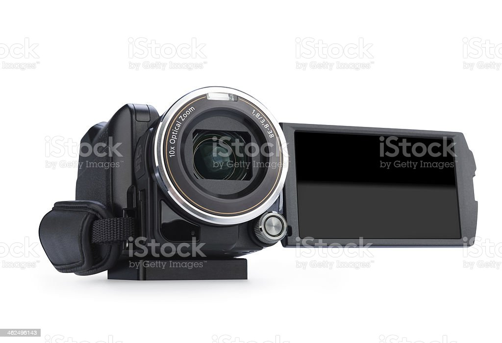 Digital video camera. Screen has a clipping path. stock photo