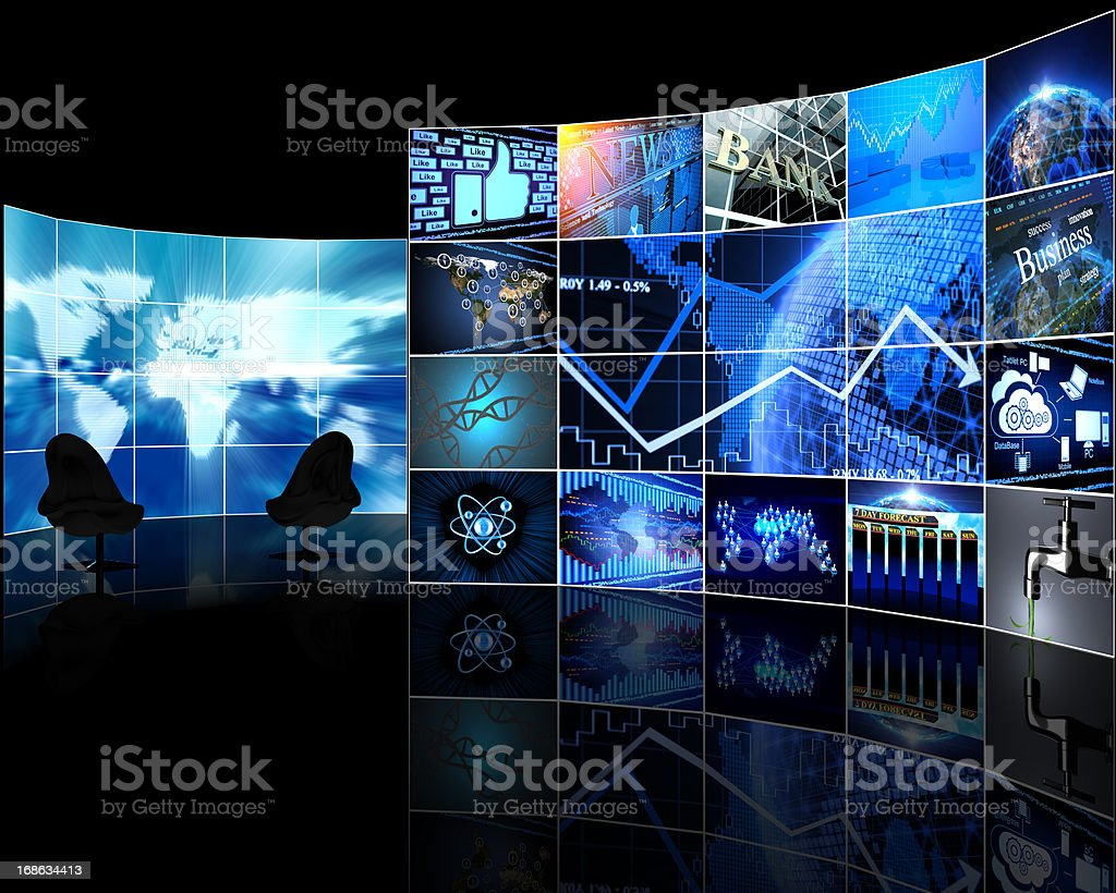 Digital Video wall with screens stock photo