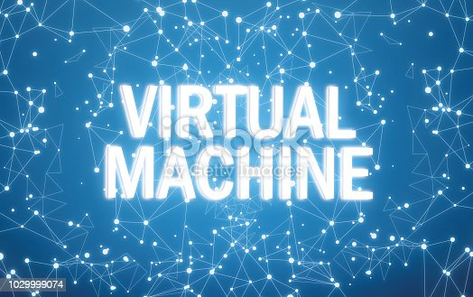 istock Digital virtual machine text on blue network background 1029999074