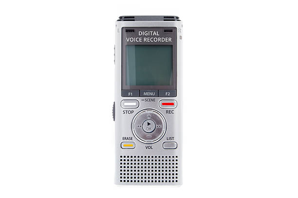 digital voice recorder, dictaphone on white background - dictaphone stock pictures, royalty-free photos & images