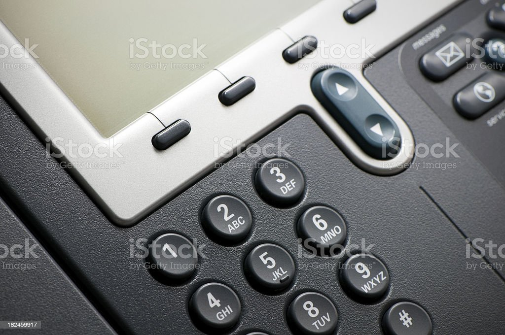 Digital VoIP conference phone, keypad close-up royalty-free stock photo
