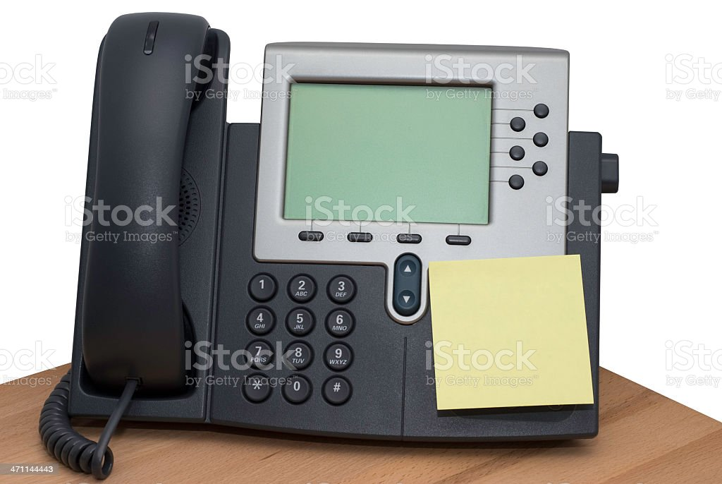 Digital VoIP conference phone, sticky note, isolated on white background royalty-free stock photo