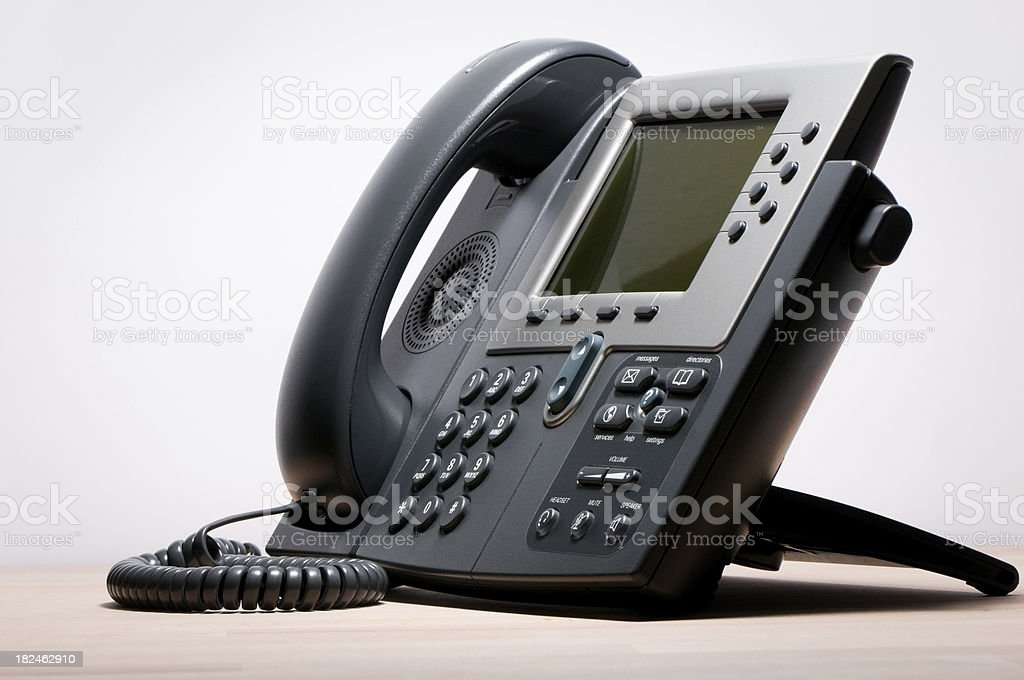 Digital VoIP phone, white background stock photo