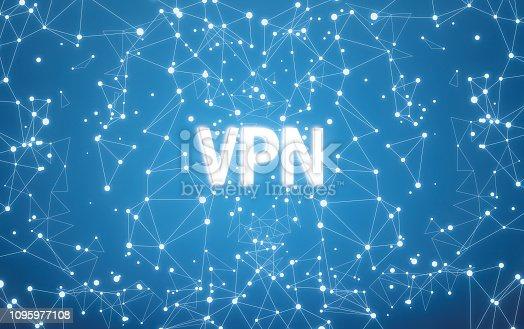 istock Digital VPN text on blue network background 1095977108