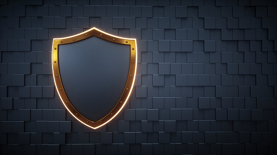 istock Digital Wall With Empty Shield Concept 879879058